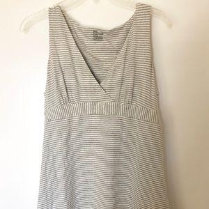 Cotton grey and white striped midi dress